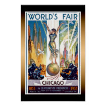 Chicago World's Fair 1933 - Vintage Retro Art Deco Poster