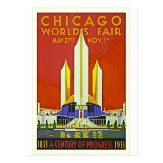 Chicago Worlds Fair 1933 Vintage Travel Poster Art Postcard