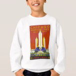 Chicago Worlds Fair 1933 Vintage Travel Poster Art Sweatshirt
