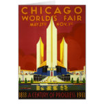 Chicago World's Fair 1933 Vintage Travel Poster Card