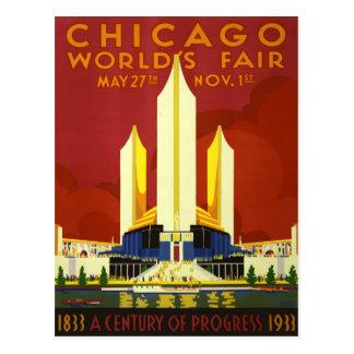 Chicago World's Fair 1933 Vintage Travel Poster Postcard