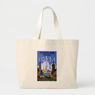 Chicago World's Fair 1934 Large Tote Bag