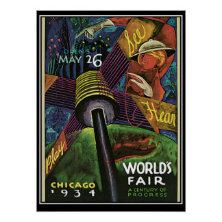 Chicago Worlds Fair 1934  Vintage Print