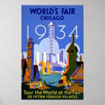 Chicago World's Fair 1934 Vintage Travel Poster