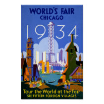 Chicago World's Fair 1934 Vintage Travel Poster