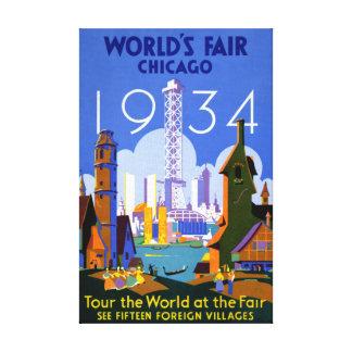 Chicago World's Fair 1934 Vintage Travel Poster Canvas Print