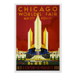 Chicago World's Fair America Vintage Travel Poster