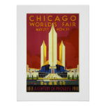 Chicago World's Fair Century Of Progress 1833-1933 Poster