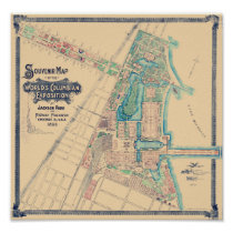 Chicago World's Fair - Columbian Exposition Map - Poster