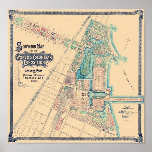 Chicago World's Fair - Columbian Exposition Map -