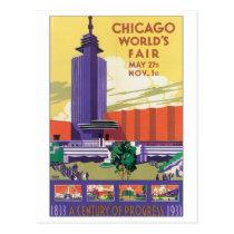Chicago World's Fair Poster 1933 Postcard
