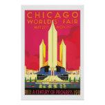 Chicago World's Fair Red Poster