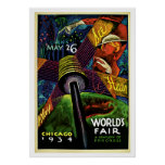 Chicago World's Fair Vintage 1934 Travel Poster
