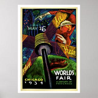 Chicago World's Fair Vintage 1934 Travel Print