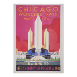 "Chicago World's Fair Vintage Poster (28"" x 20"")"