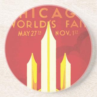 Chicago Worlds Fair Vintage Poster Coaster