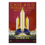 Chicago worlds fair Vintage Poster Restored
