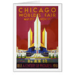 Chicago worlds fair Vintage Poster Restored Card