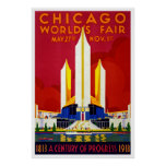Chicago world's fair, vintage promotional poster