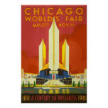 Chicago Worlds Fair Vintage Travel Poster