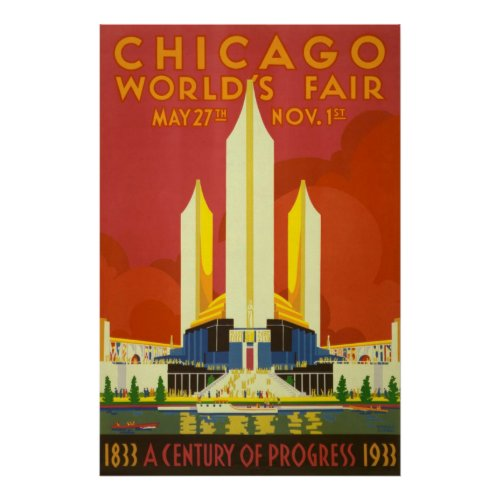 Chicago Worlds Fair Vintage Travel Poster