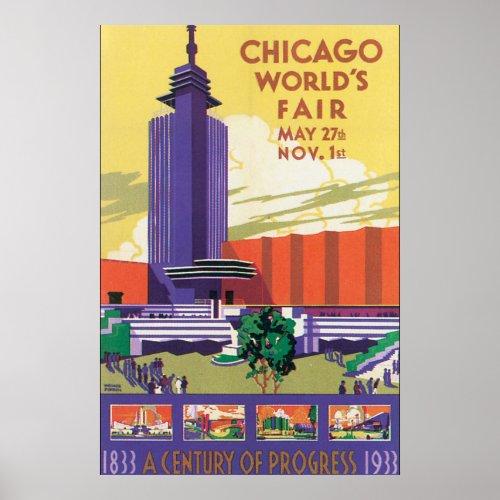 Chicago World's Fair Vintage Travel Poster
