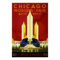 Chicago World's Fair Vintage Travel Poster