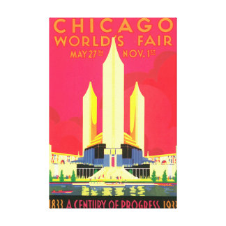 Chicago World's Fair Vintage Travel Poster Artwork Canvas Print