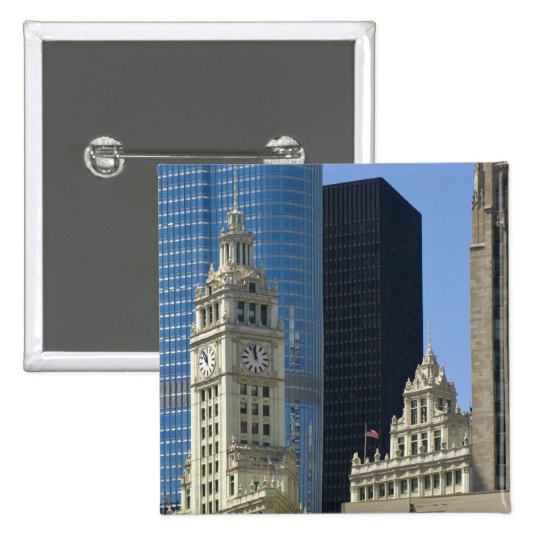 Chicago, Wrigley Building with Trump Hotel & Button