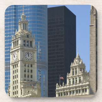 Chicago, Wrigley Building with Trump Hotel & Drink Coaster