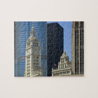 Chicago, Wrigley Building with Trump Hotel & Jigsaw Puzzle