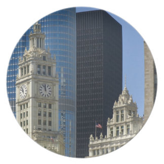 Chicago, Wrigley Building with Trump Hotel & Melamine Plate