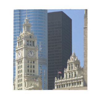 Chicago, Wrigley Building with Trump Hotel & Notepad