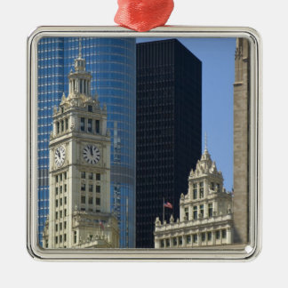 Chicago, Wrigley Building with Trump Hotel & Christmas Tree Ornament