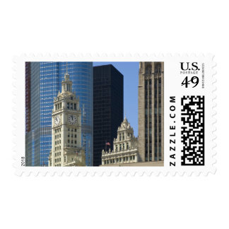 Chicago, Wrigley Building with Trump Hotel & Postage Stamp