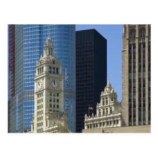 Chicago, Wrigley Building with Trump Hotel & Postcard