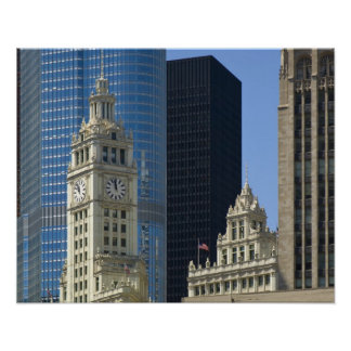 Chicago, Wrigley Building with Trump Hotel & Posters