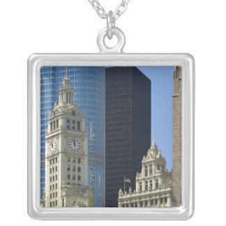 Chicago, Wrigley Building with Trump Hotel & Silver Plated Necklace
