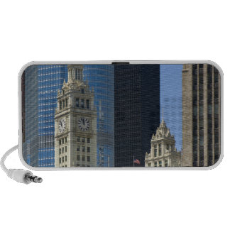 Chicago, Wrigley Building with Trump Hotel & iPhone Speakers