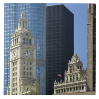 Chicago, Wrigley Building with Trump Hotel & Tile