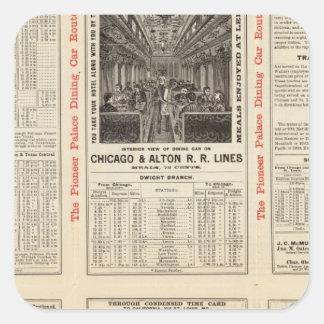 Chicago y ferrocarril 3 de Alton Calcomania Cuadradas