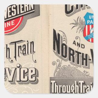 Chicago y línea occidental del norte pegatina cuadrada