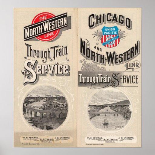 Chicago y línea occidental del norte póster