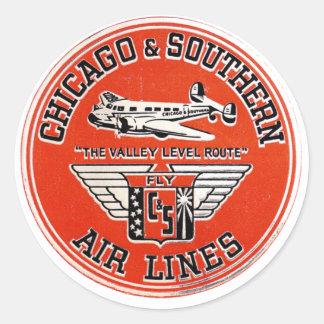 Chicago y líneas de aire meridionales logotipo pegatina redonda