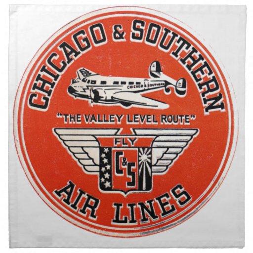 Chicago y líneas de aire meridionales logotipo servilleta imprimida