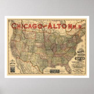 Chicago y mapa 1883 del ferrocarril de Alton Póster