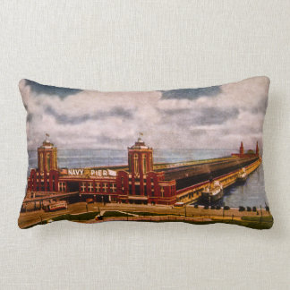 Chicago's Navy Pier Vintage Lumbar Pillow