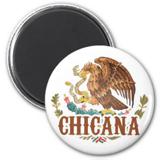Chicana Mexico Coat of Arms 2 Inch Round Magnet