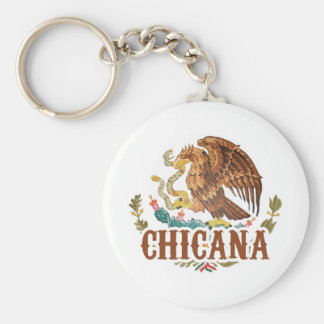 Chicana Mexico Coat of Arms Basic Round Button Keychain