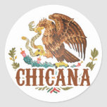 Chicana Mexico Coat of Arms Classic Round Sticker